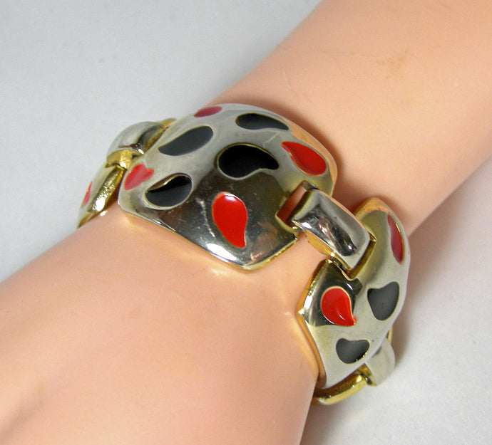 Vintage 1960s Silver Tone Bracelet With Red & Black Enameling - JD10172