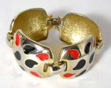 Load image into Gallery viewer, Vintage 1960s Silver Tone Bracelet With Red & Black Enameling - JD10172