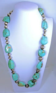 Vintage American Indian Massive Chunky Turquoise Necklace With Large Sterling Silver Ribbed Beads