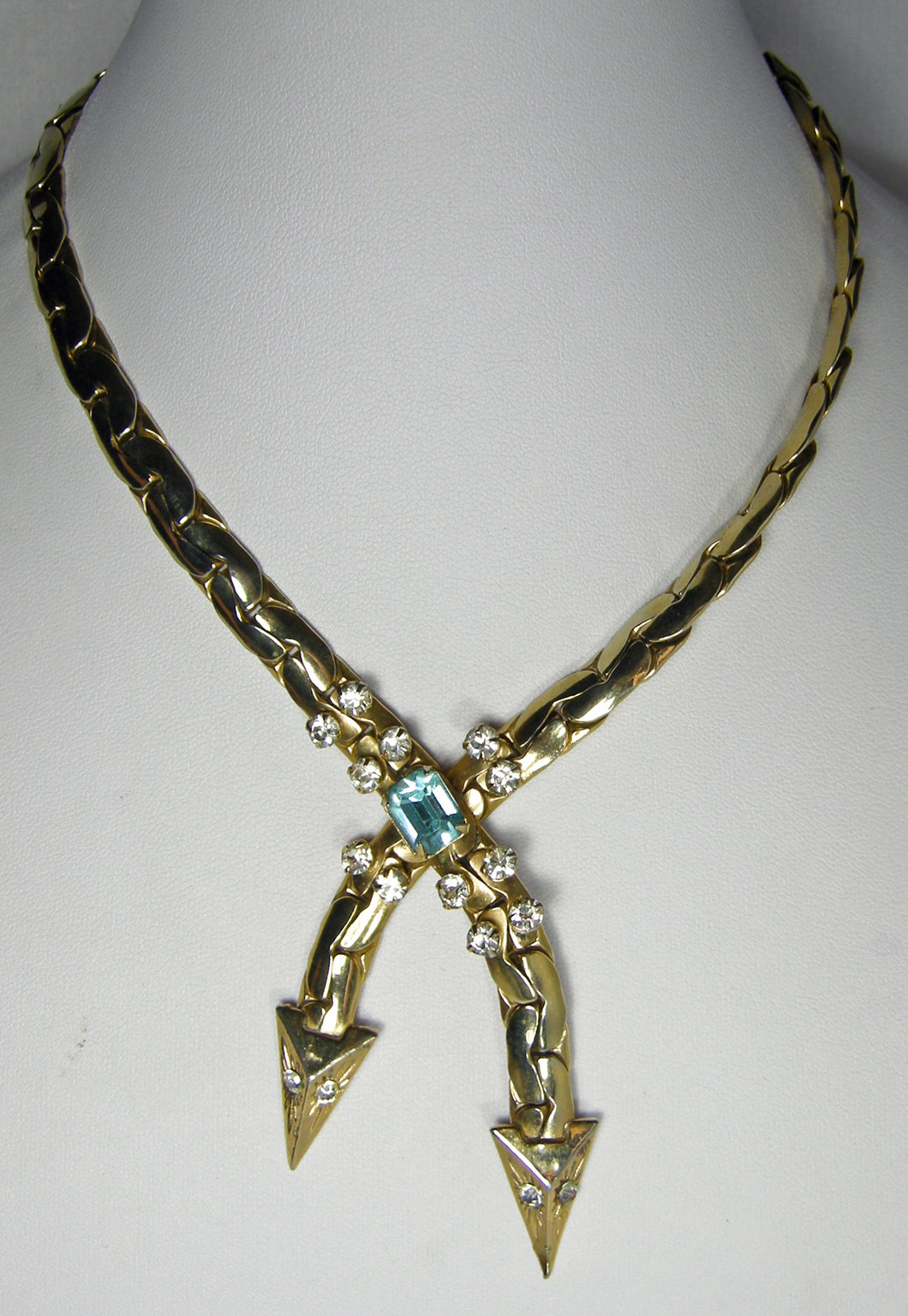 Vintage Two-Headed Snake Necklace With a Faux Aquamarine Crystal