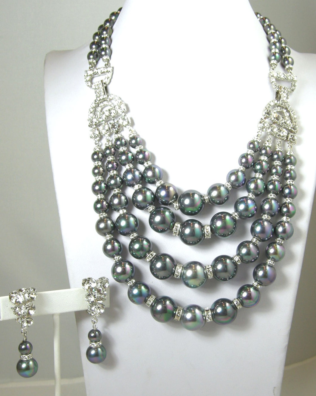 One-Of-A-Kind Robert Sorrell Tahitian Pearl and Crystal Necklace Set
