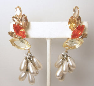 One-of-a-Kind Robert Sorrell Crystal & Pearl Drop Earrings