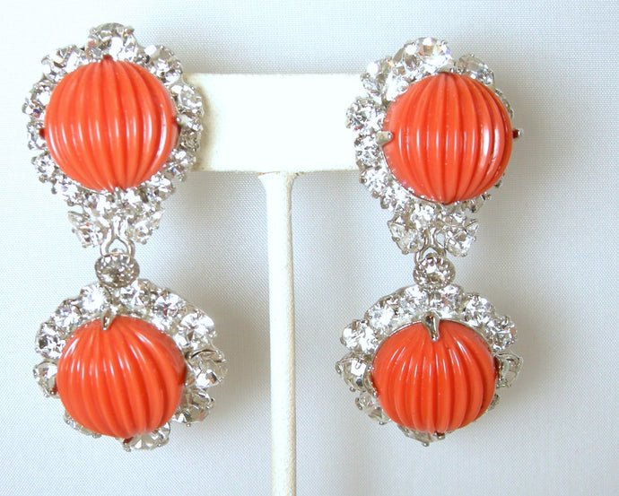 Signed Robert Sorrell One-Of-A-Kind Faux Coral & Crystal Drop Earrings