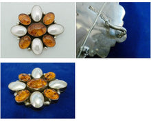Load image into Gallery viewer, Vintage Signed JJM Amber & Mother of Pearl Sterling Silver Pin/Pendant