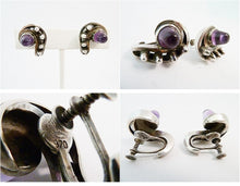 Load image into Gallery viewer, Vintage Signed Antonio Amethyst & Sterling Silver Earrings