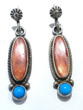 Load image into Gallery viewer, Vintage Sterling Silver Pierced Signed RB Coral & Turquoise Earrings