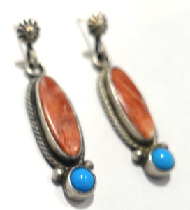 Vintage Sterling Silver Pierced Signed RB Coral & Turquoise Earrings