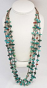 Vintage Turquoise & Coral Fetish 4-Strand Necklace