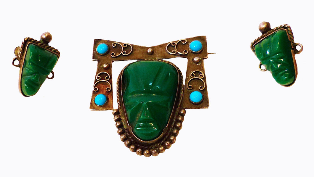 Vintage Signed Mexico, Malachite & Turquoise Figural Face Sterling Silver Pin & Earrings