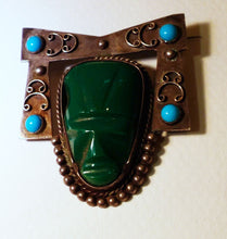 Load image into Gallery viewer, Vintage Signed Mexico, Malachite & Turquoise Figural Face Sterling Silver Pin & Earrings