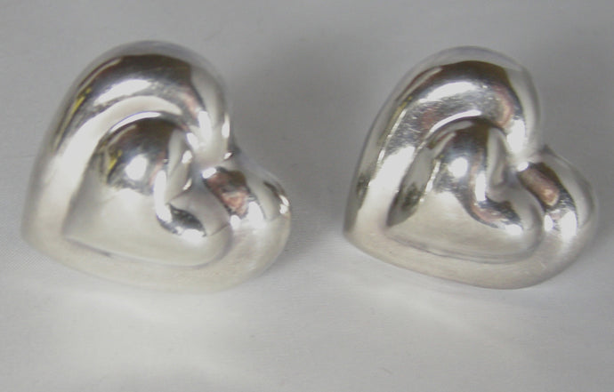 Vintage Large Sterling Heart Earrings