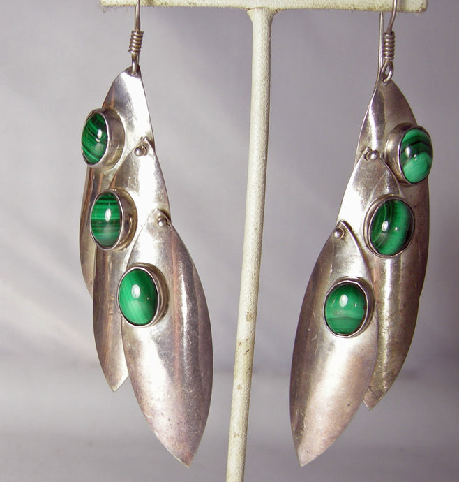 Vintage Sterling & Malachite Dangling Pierced Earrings