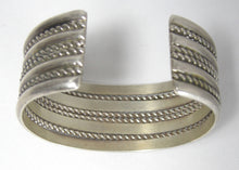 Load image into Gallery viewer, Vintage Signed BD Sterling Silver Ribbed Cuff Bracelet