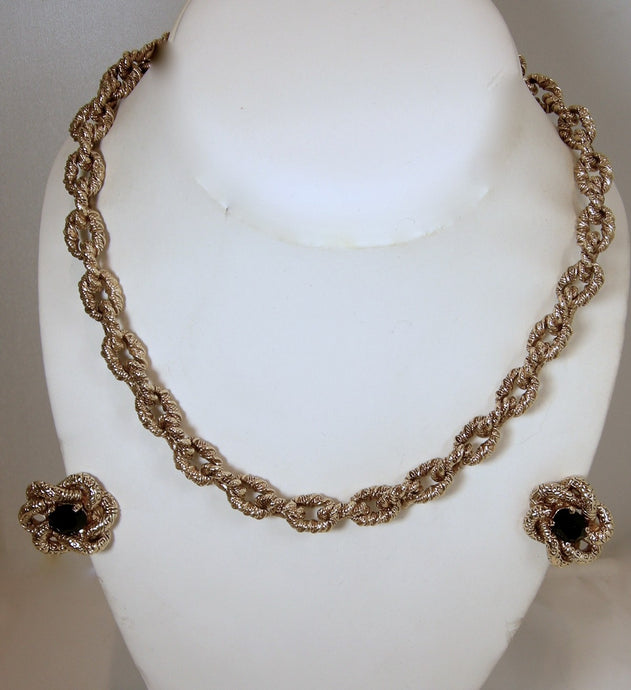 Vintage Signed St. John Link Chain Necklace & Earrings Set