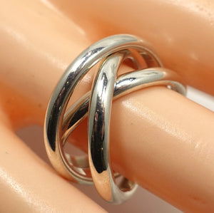 Vintage Famous Tiffany Sterling Silver Triple Crossover Ring, Size 7-1/2