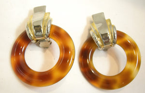 Vintage Faux Tortoise Shell Hoop Earrings
