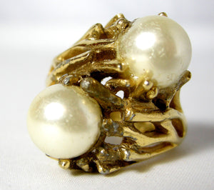 Vintage Trifari Faux Pearl Ring - JD10141