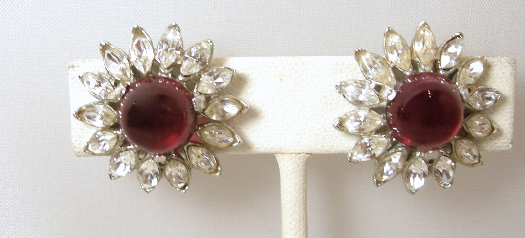 Vintage Signed Trifari Red & Clear Crystal Earrings