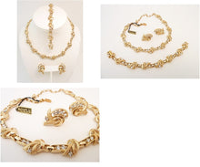 Load image into Gallery viewer, Vintage Signed Trifari Necklace, Bracelet & Earrings Parure.