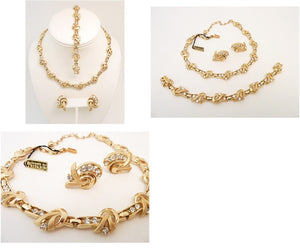 Vintage Signed Trifari Necklace, Bracelet & Earrings Parure.