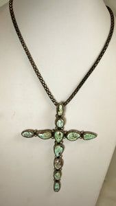 Vintage Signed Tom Willeto Sterling Navajo Green Turquoise Cross With Chain