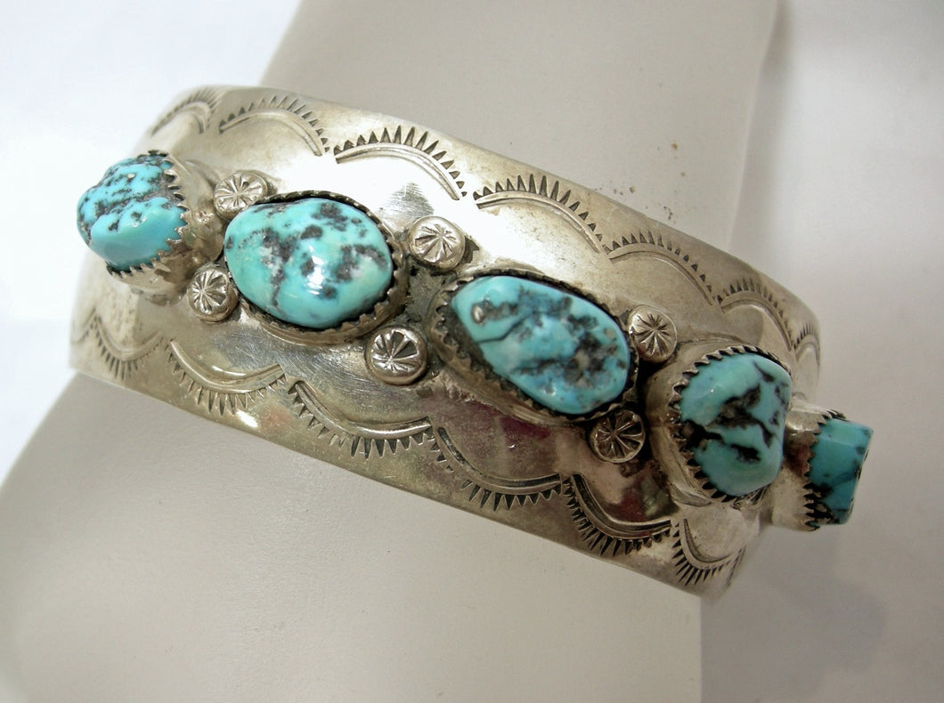 Vintage Turquoise & Sterling Silver Cuff Bracelet