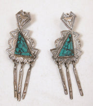Load image into Gallery viewer, Vintage Native American Signed JR Silversmiths, Turquoise Sterling Dangling Earrings