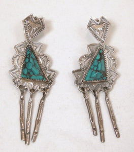 Vintage Native American Signed JR Silversmiths, Turquoise Sterling Dangling Earrings