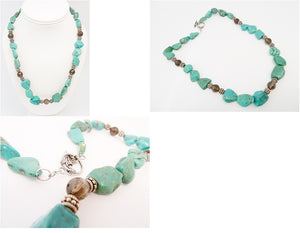 Vintage Turquoise & Green Garnet Bead Necklace
