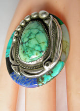 Load image into Gallery viewer, Vintage Huge Navajo Pawn Turquoise Sterling Ring
