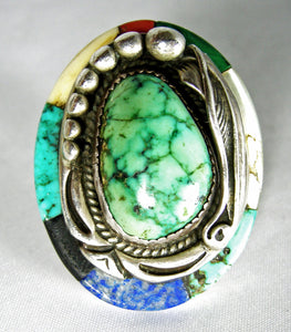 Vintage Huge Navajo Pawn Turquoise Sterling Ring