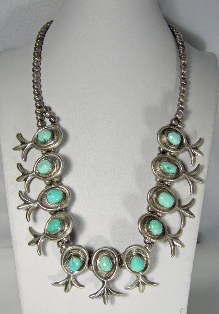 Vintage 1930s American Indian Pawn Sterling Silver Turquoise Necklace - JD10143
