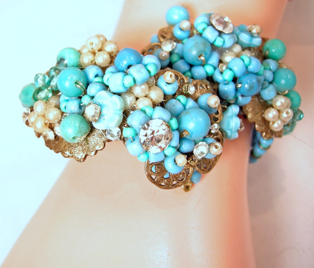 Vintage Unsigned Miriam Haskell Faux Turquoise, Pearl & Crystal Wrap Bracelet