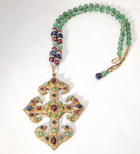Load image into Gallery viewer, Vintage Rare 1980s Valentino Multi Color Runway Cross Necklace