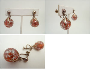 Vintage Venetian Foil Glass Earrings