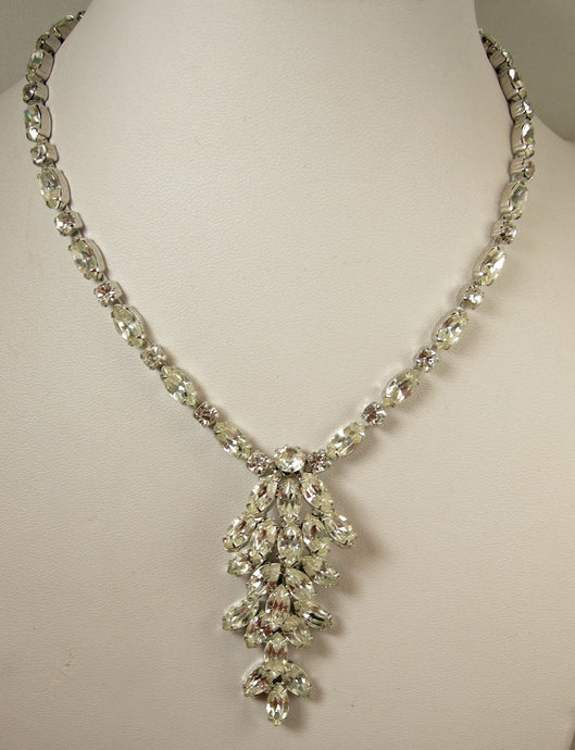 Vintage Signed Weiss Clear Crystal Drop Necklace