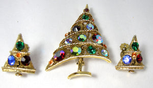 Vintage Signed Weiss Multi-Color Christmas Tree & Matching Clip Earrings - JD10154