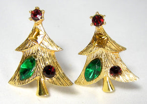 Vintage Signed Weiss Christmas Tree Clip Earrings - JD10148