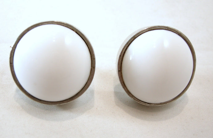 Vintage Large Milk Glass & Sterling Round Earrings By Tess Designs