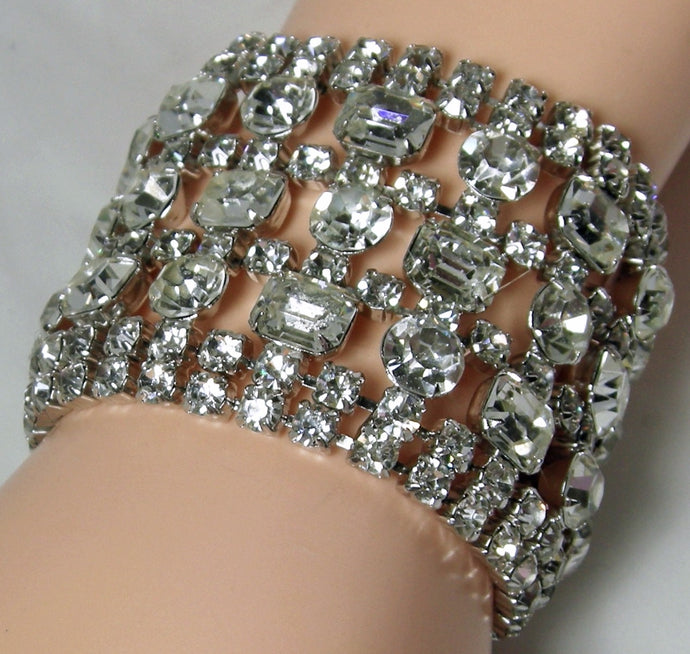 Very Wide Vintage Art Deco Clear Crystal Bracelet