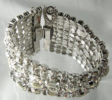 Load image into Gallery viewer, Very Wide Vintage Art Deco Clear Crystal Bracelet