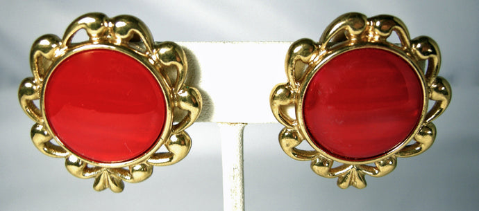 Vintage Yves Saint Laurent Red Earrings