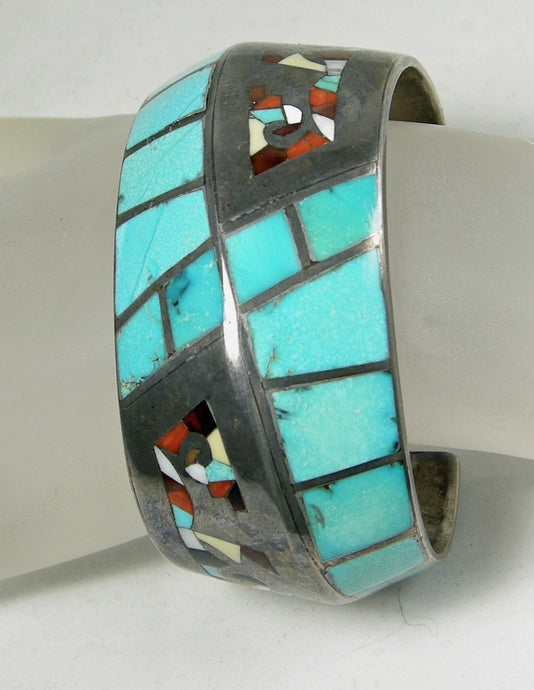 Vintage Zuni Inlaid Cubed Turquoise Cuff