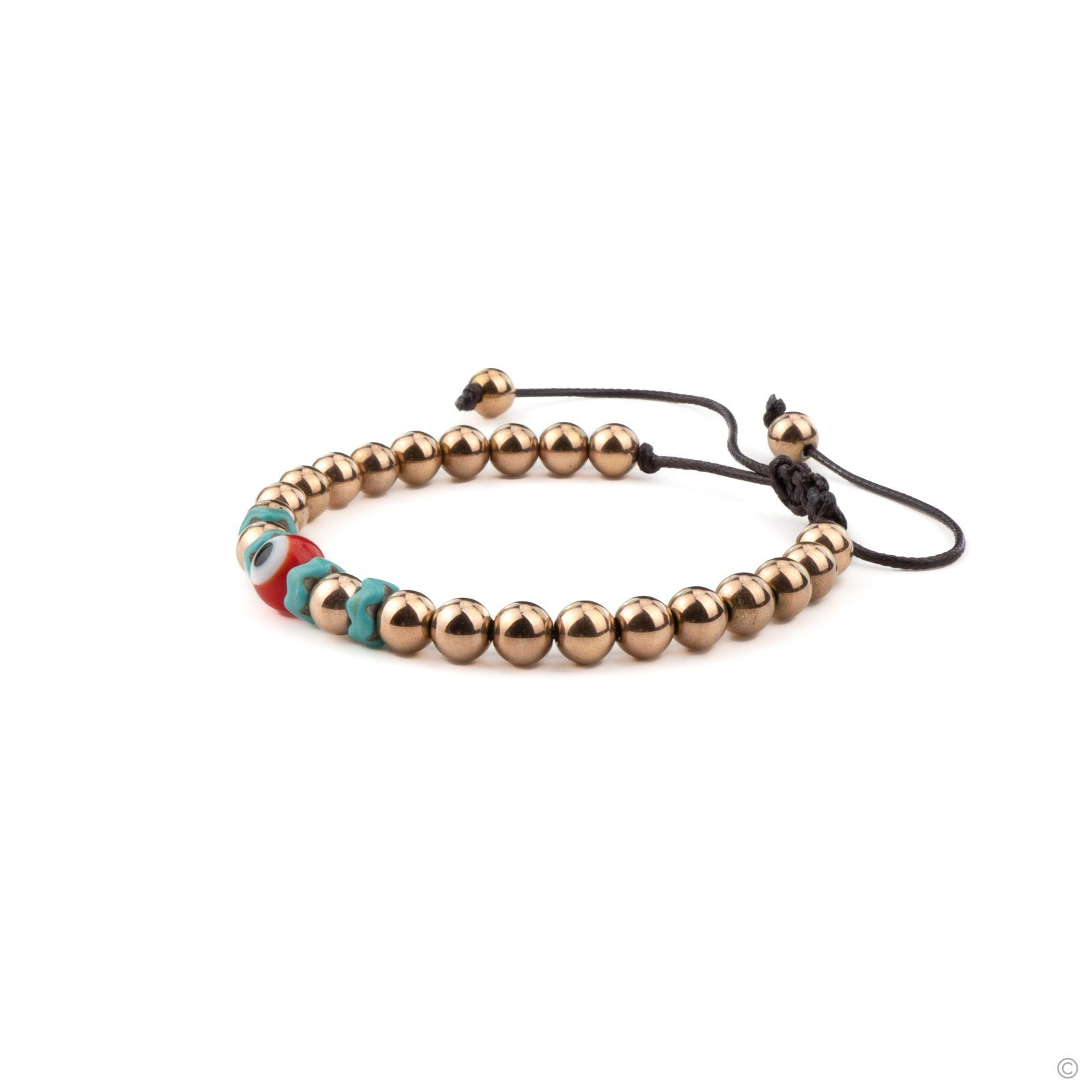 Turkish Eye Beaded Bracelet - Rose Gold