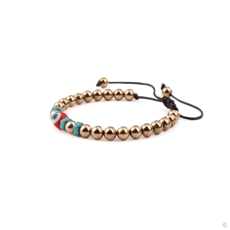 Coravana - Turkish Eye Beaded Bracelet - Rose Gold