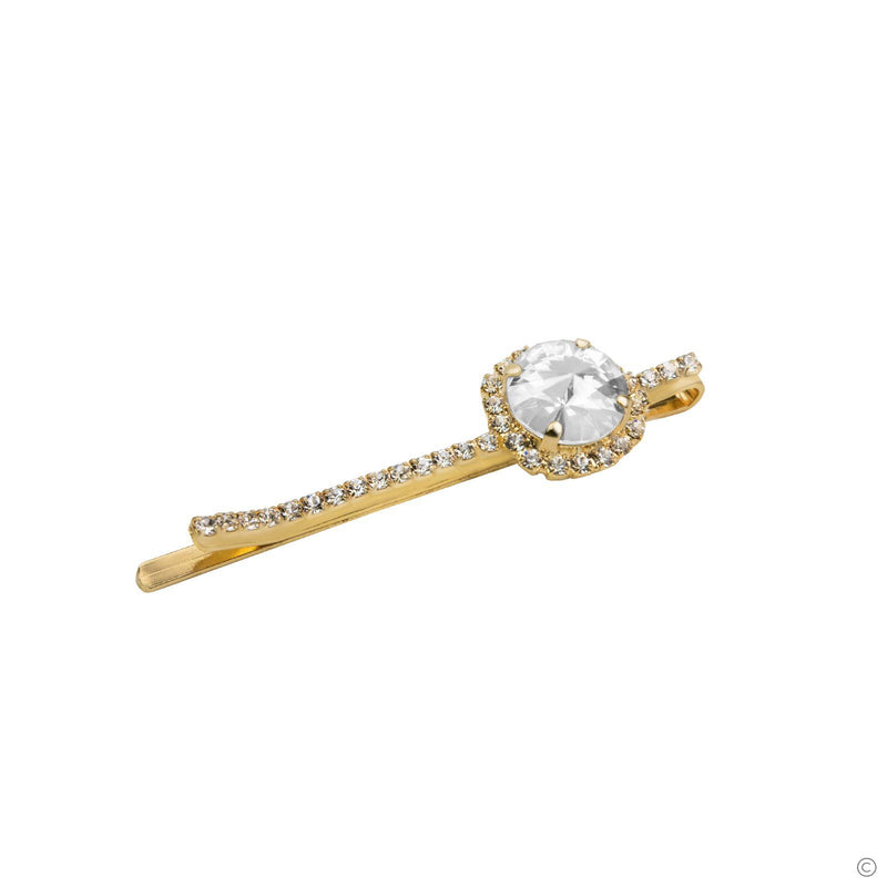 Coravana - Gem Hair Pin - White & Gold