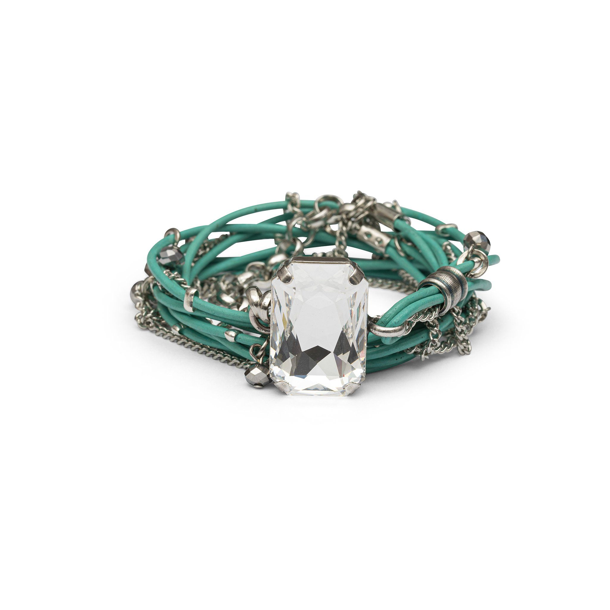 Stardust Leather Bracelet - Turquoise & Silver