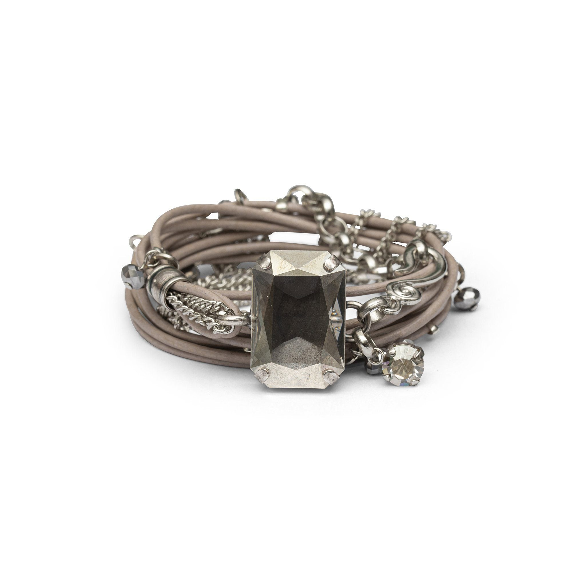 Stardust Leather Bracelet - Taupe & Silver