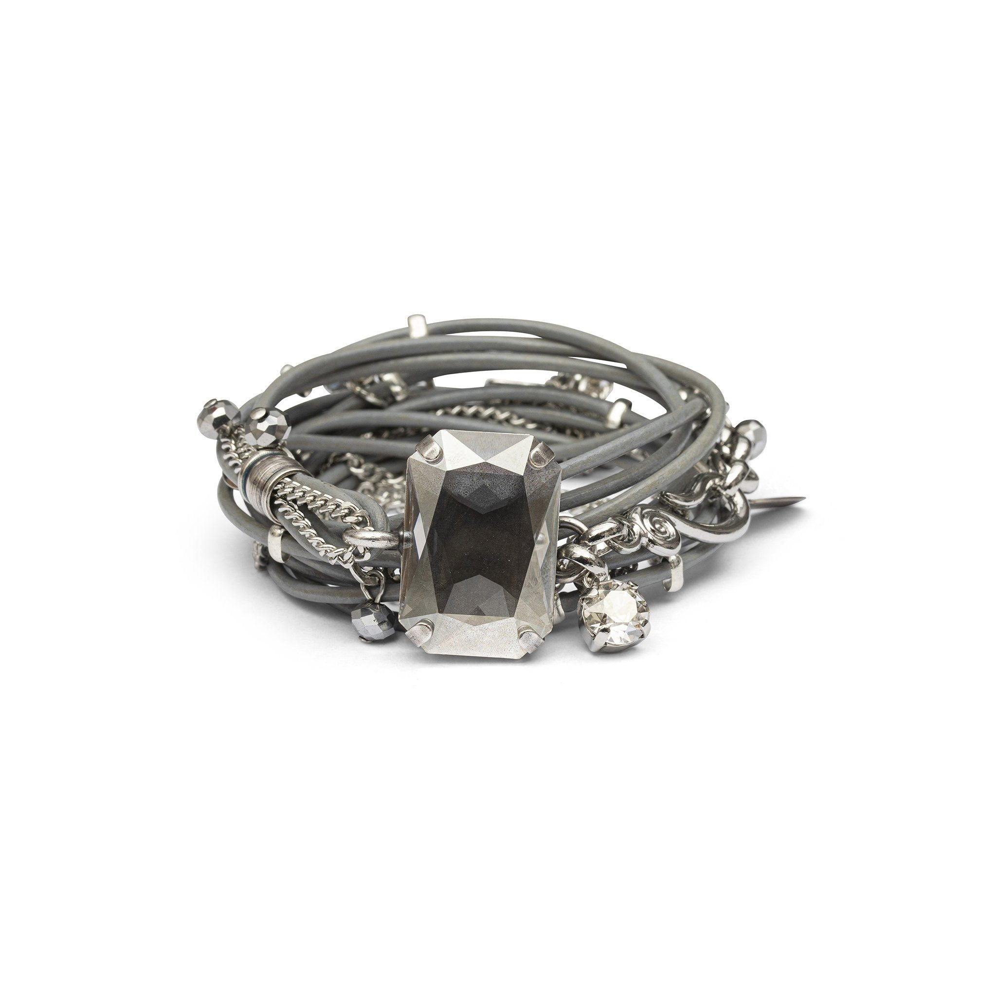 Stardust Leather Bracelet - Gray & Silver