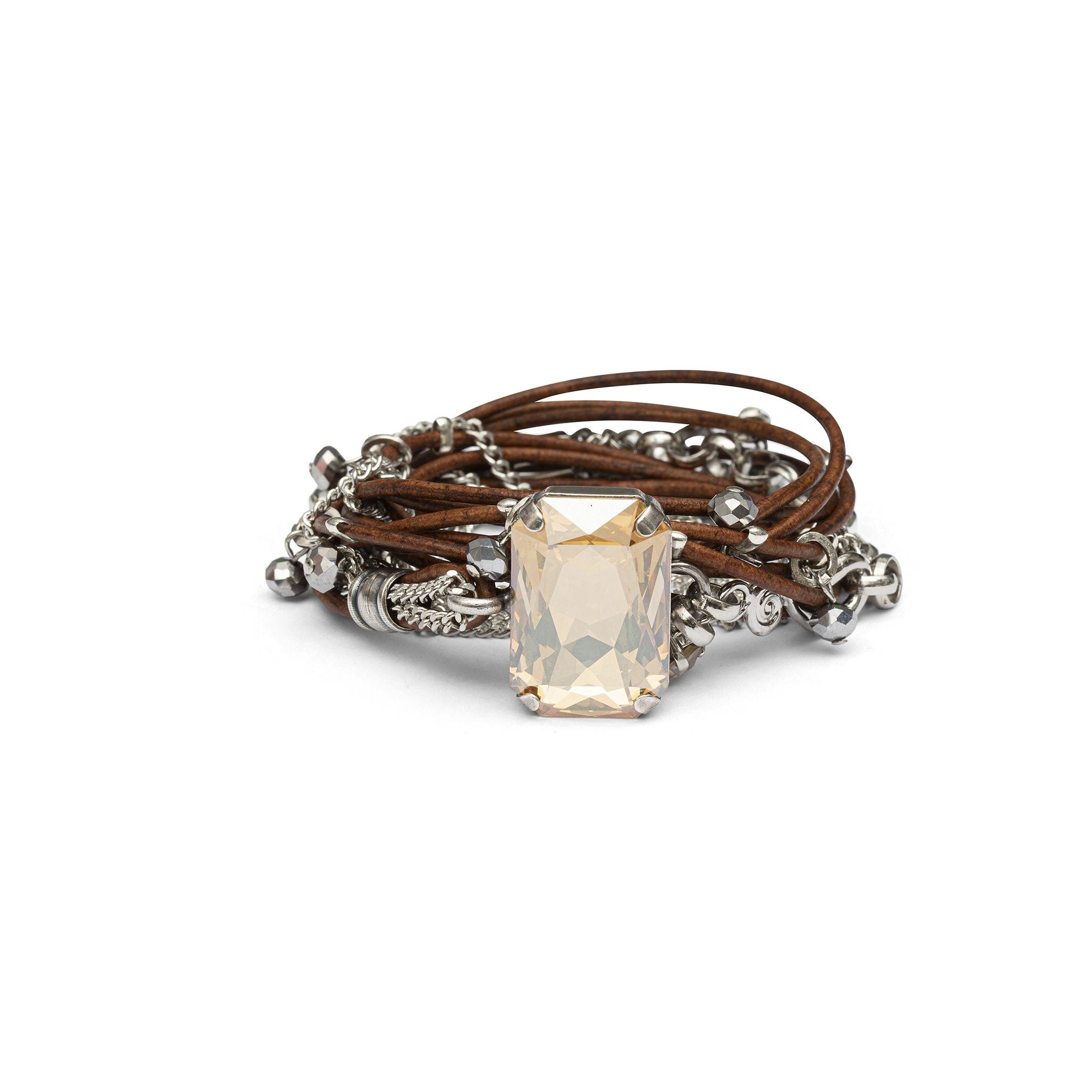 Stardust Leather Bracelet - Brown & Silver